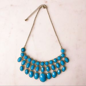 Turquoise Blue and Gold Statement Necklace